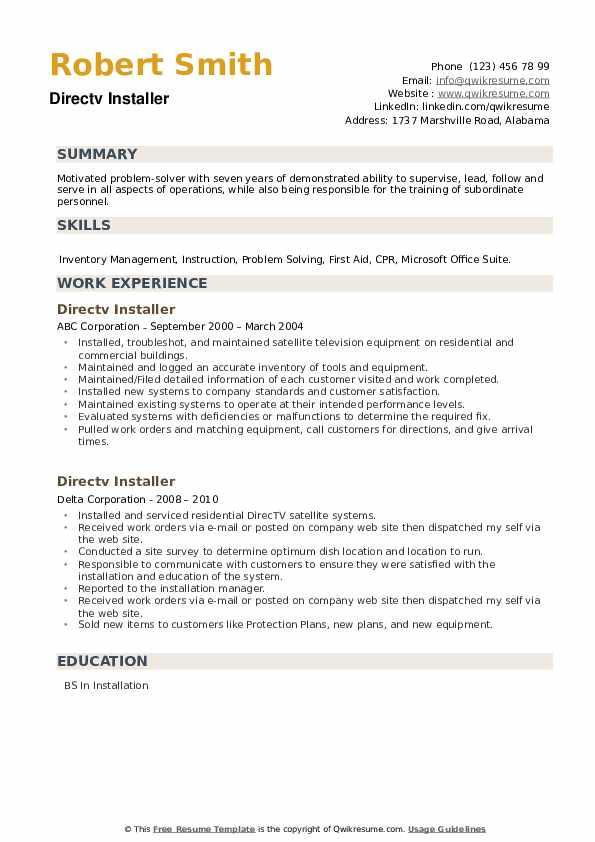 Directv Installer Resume example