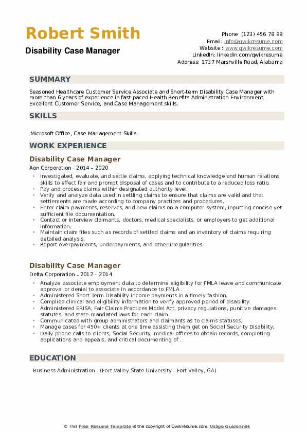 Disability Case Manager Resume example