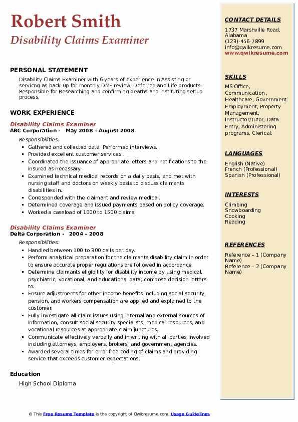 disability claims examiner resume samples  qwikresume