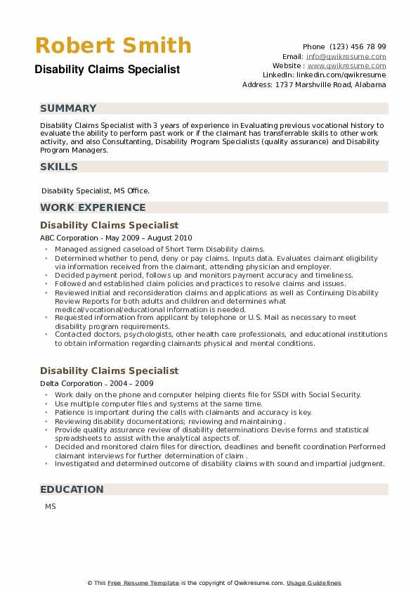 Disability Claims Specialist Resume example