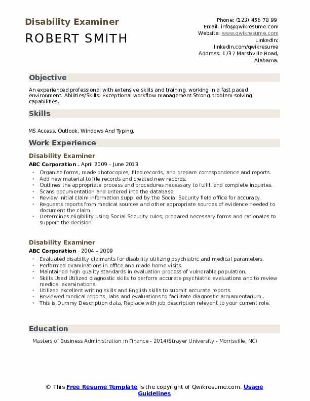 Disability Examiner Resume example