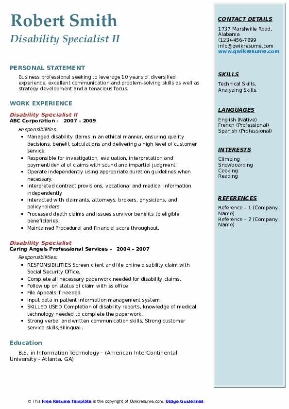 Disability Specialist Resume Samples Qwikresume
