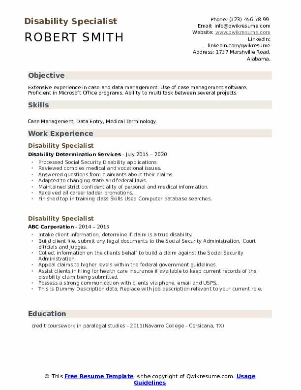 Disability Specialist Resume example