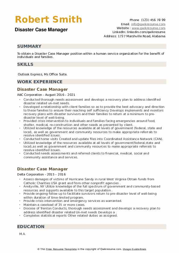 Disaster Case Manager Resume example