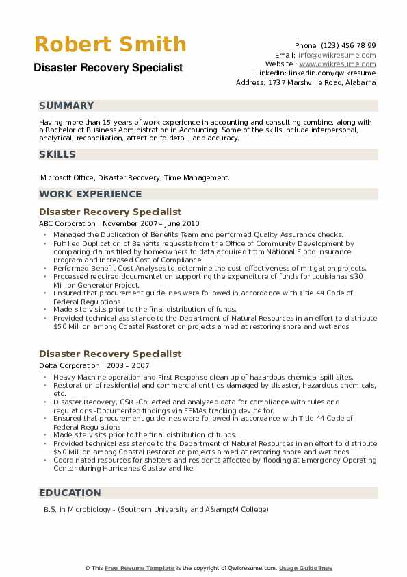 Disaster Recovery Specialist Resume example