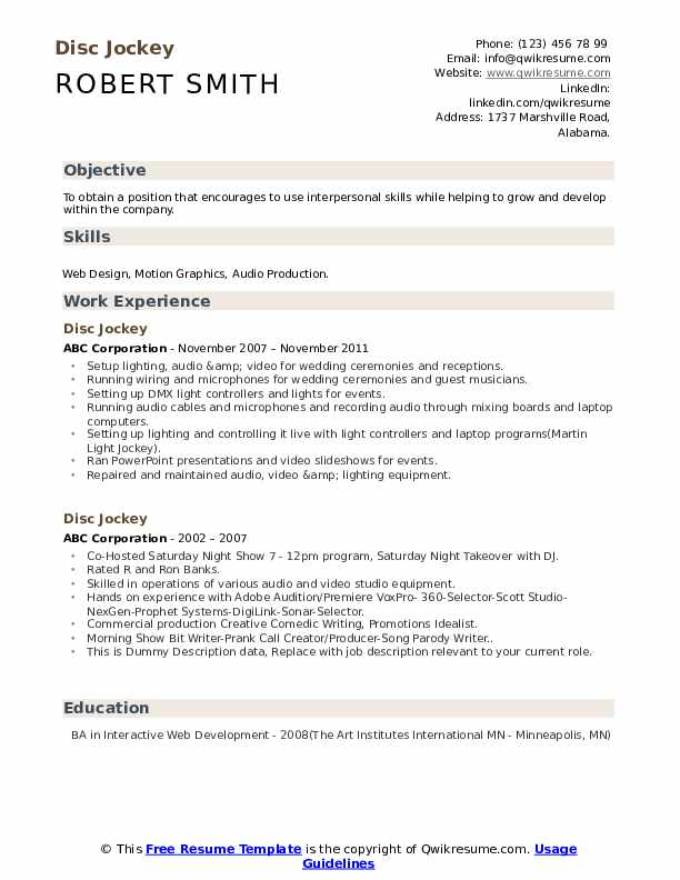Disc Jockey Resume example