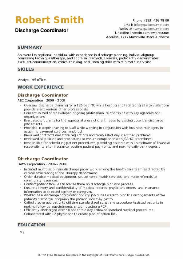 Discharge Coordinator Resume example