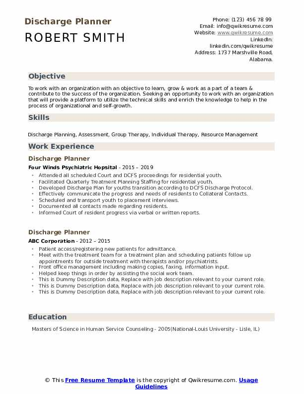 Discharge Planner Resume example