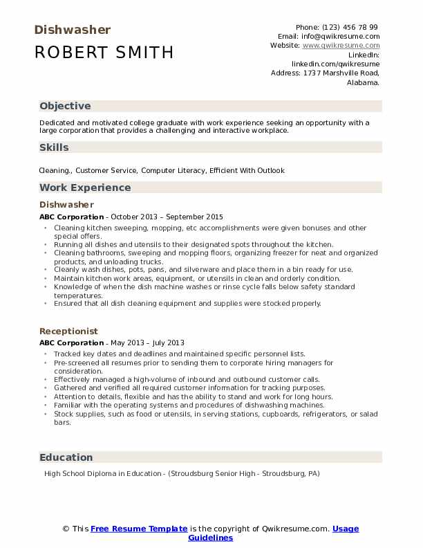 Dishwasher Resume Samples Qwikresume