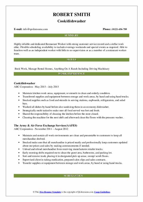 Cook/dishwasher Resume Example