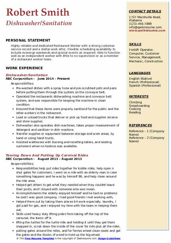 Dishwasher/Sanitation Resume Template