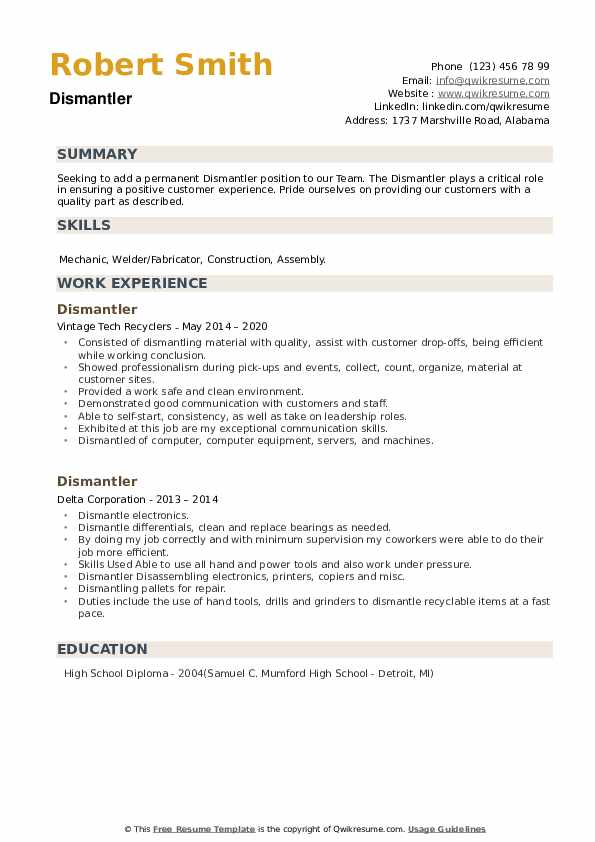Dismantler Resume example