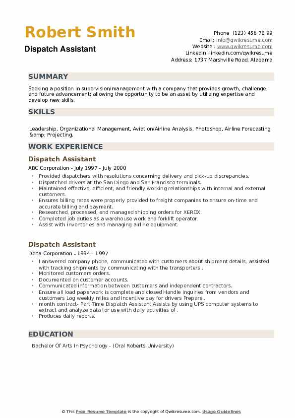 Dispatch Assistant Resume example