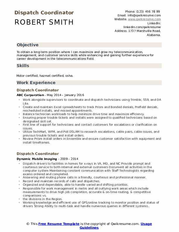 Dispatch Coordinator Resume Template