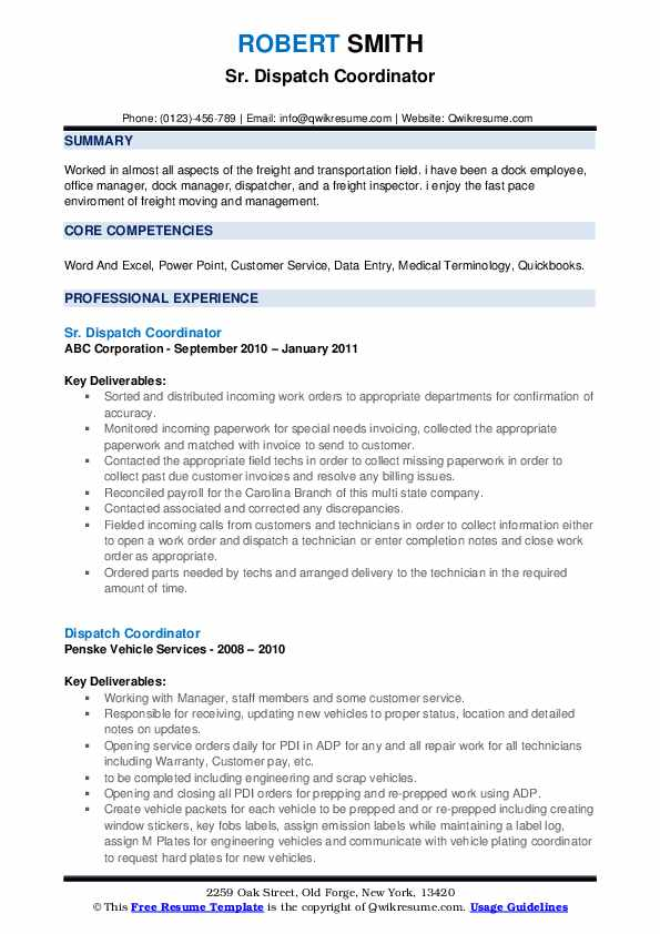 Sr. Dispatch Coordinator Resume Model