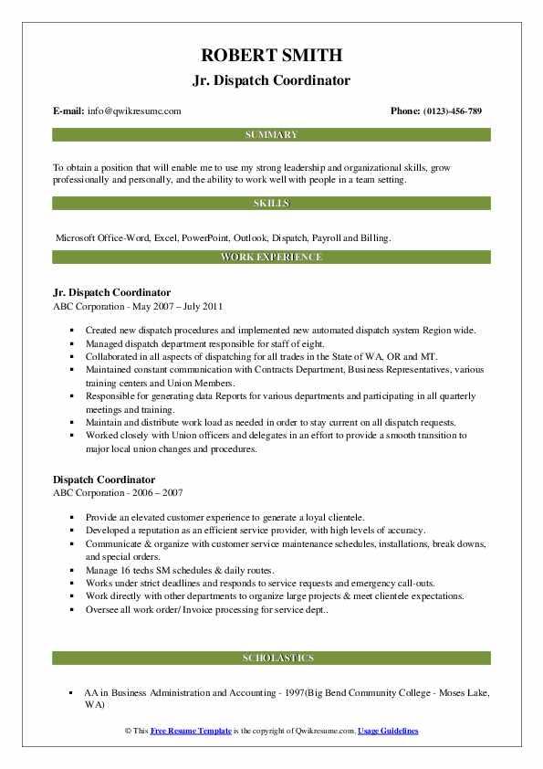 Jr. Dispatch Coordinator Resume Format