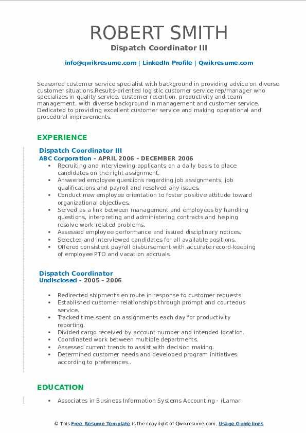 Dispatch Coordinator III Resume Template