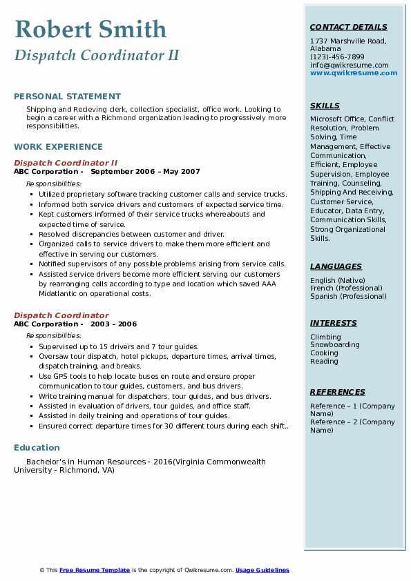 Dispatch Coordinator II Resume Format