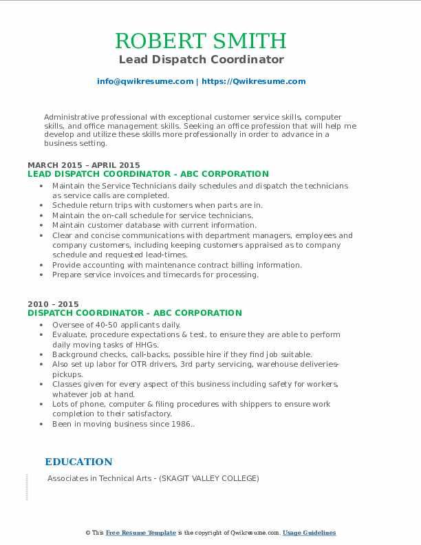 Lead Dispatch Coordinator Resume Format