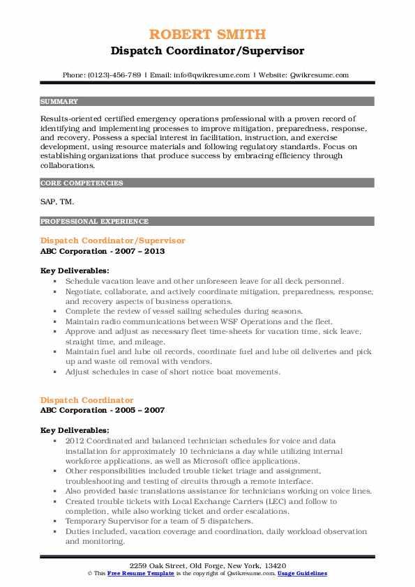 Dispatch Coordinator/Supervisor Resume Example