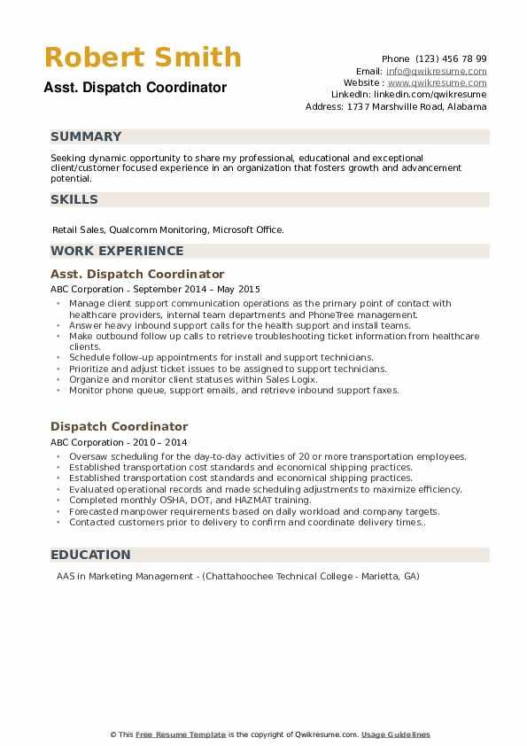 Asst. Dispatch Coordinator Resume Format