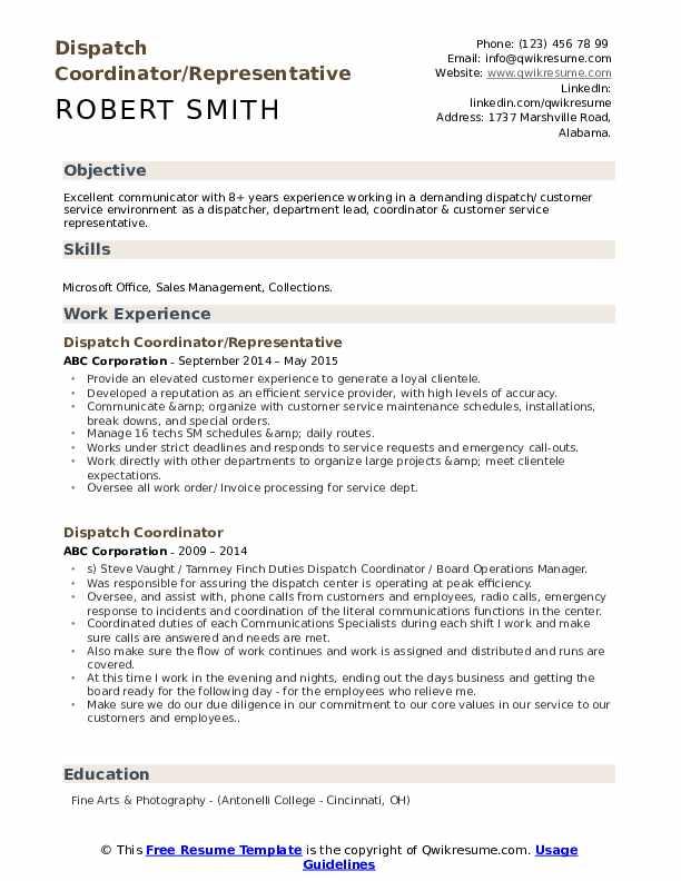 Dispatch Coordinator/Representative Resume Format