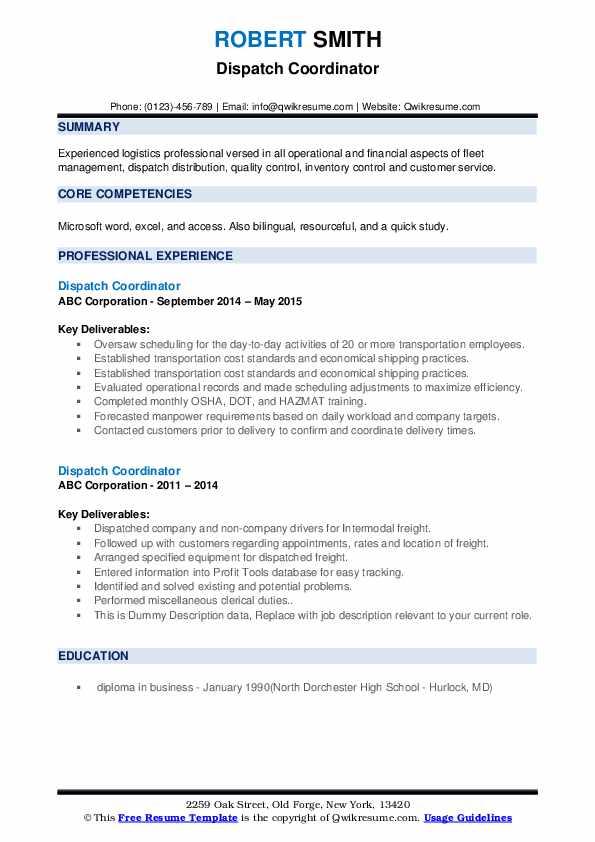 Dispatch Coordinator Resume example