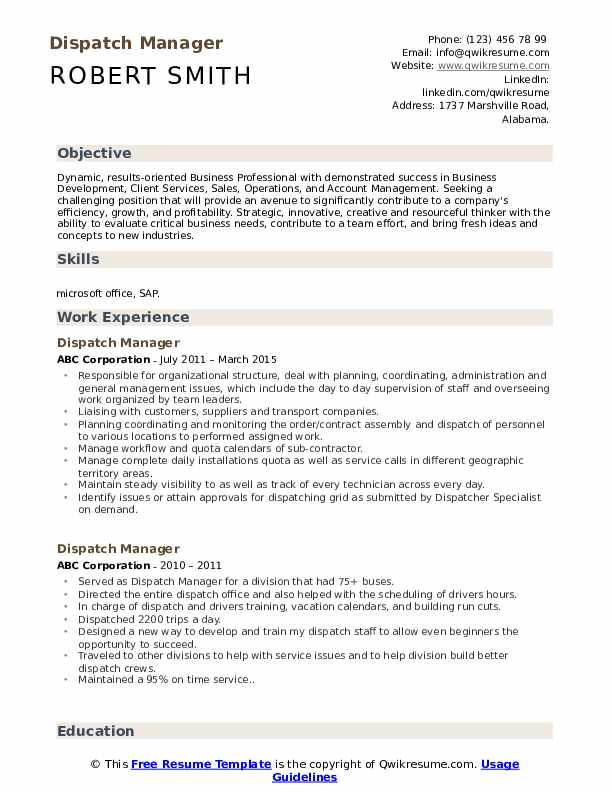 Dispatch Manager Resume Samples Qwikresume
