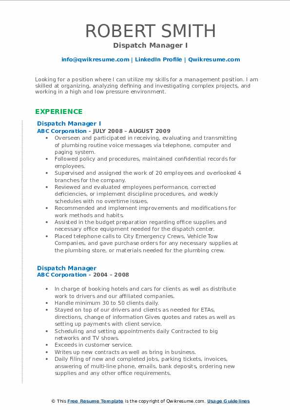 Dispatch Manager I Resume Template