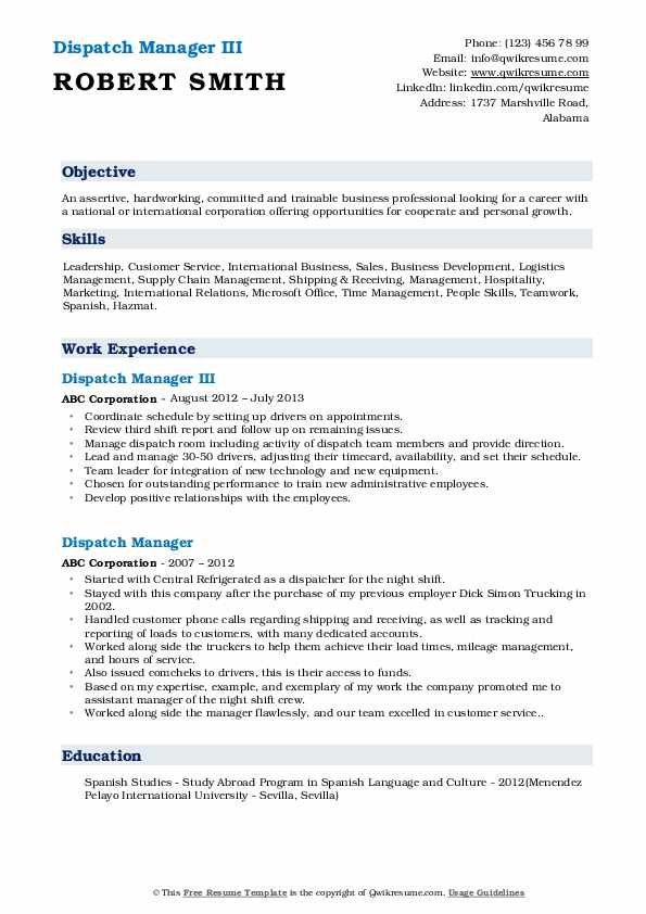 Dispatch Manager III Resume Format