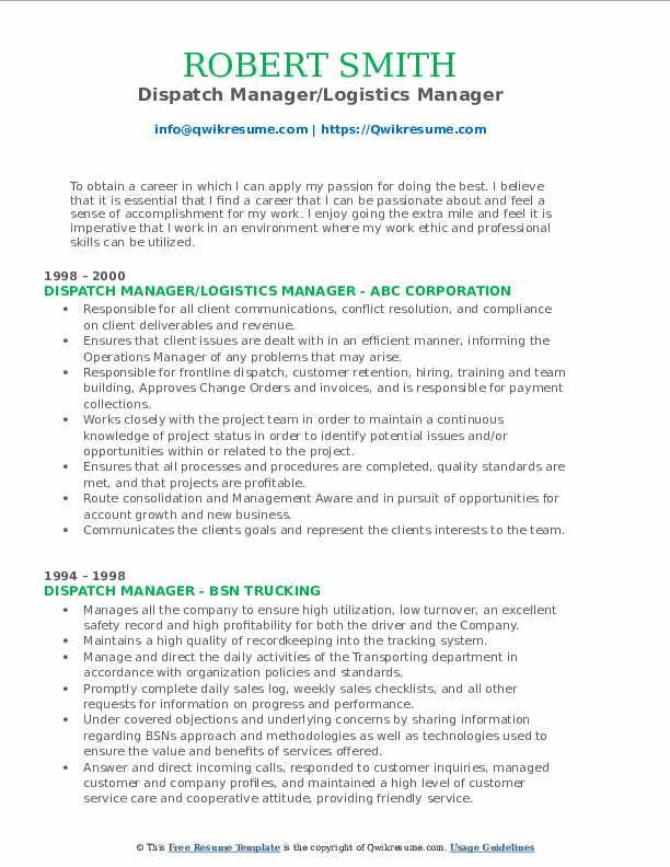 Dispatch Manager/Logistics Manager Resume Format