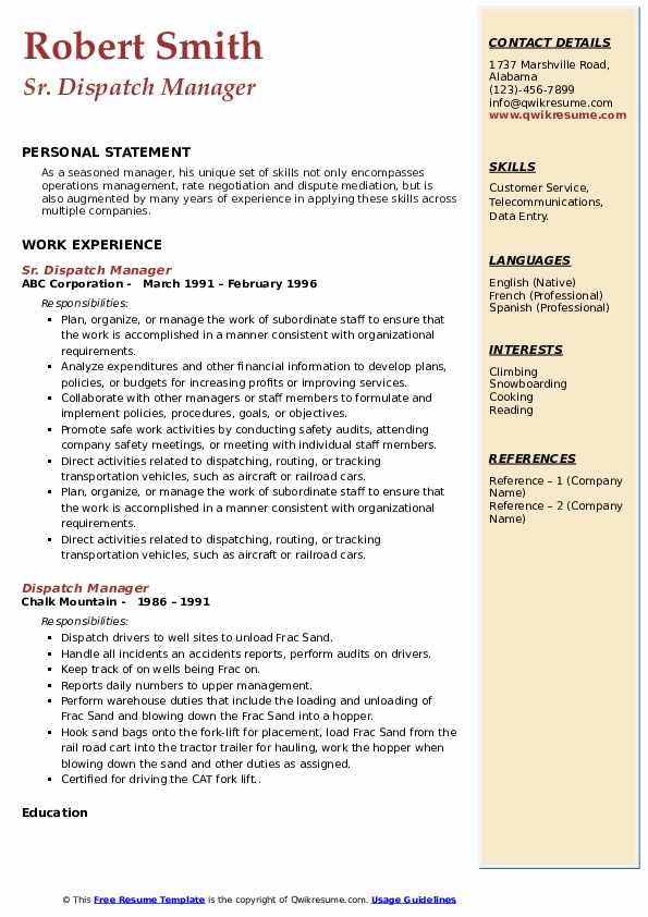 Sr. Dispatch Manager Resume Model