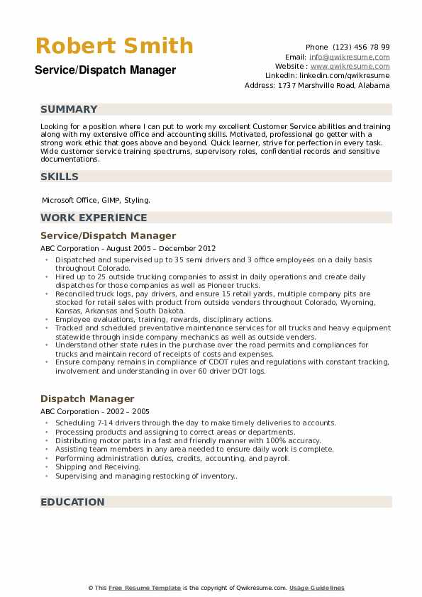 Service/Dispatch Manager Resume Model