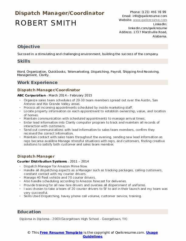 Dispatch Manager/Coordinator Resume Template
