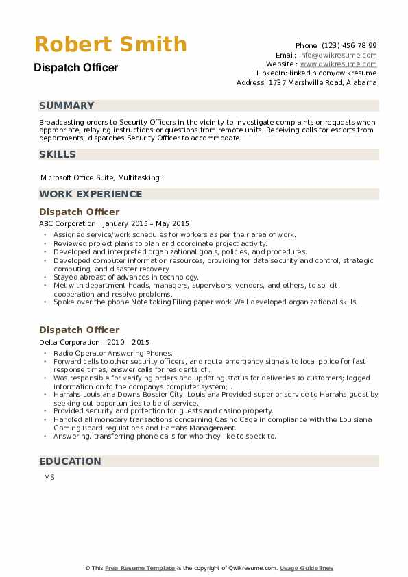 Dispatch Officer Resume example