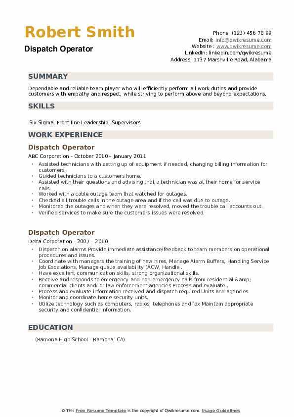 Dispatch Operator Resume example