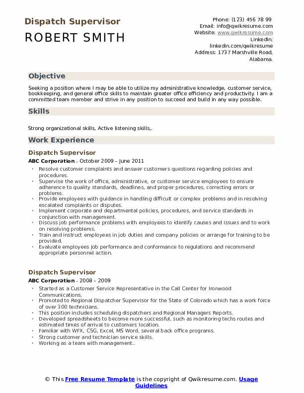 Dispatch Supervisor Resume Example