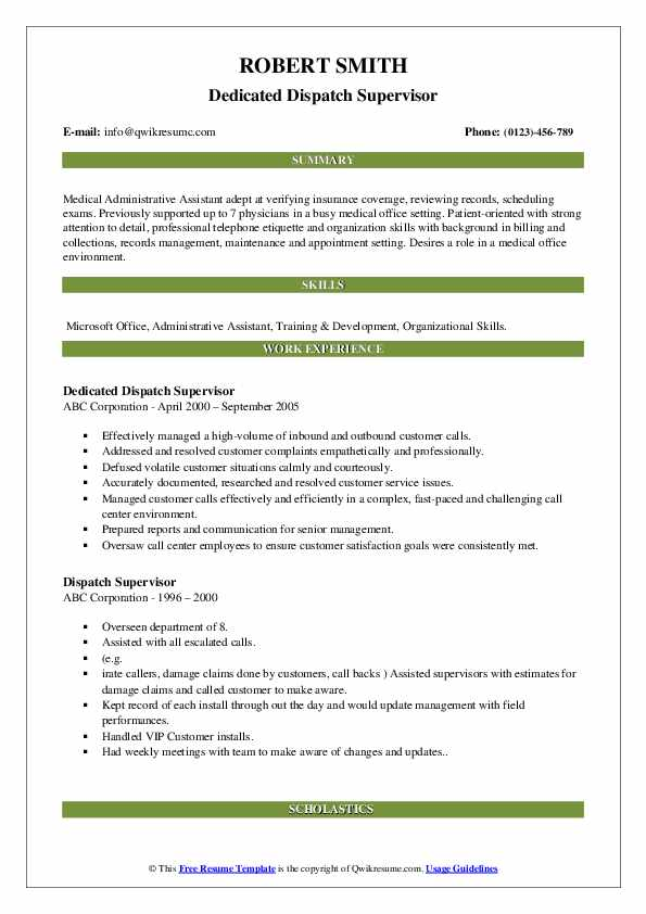 Dedicated Dispatch Supervisor Resume Model