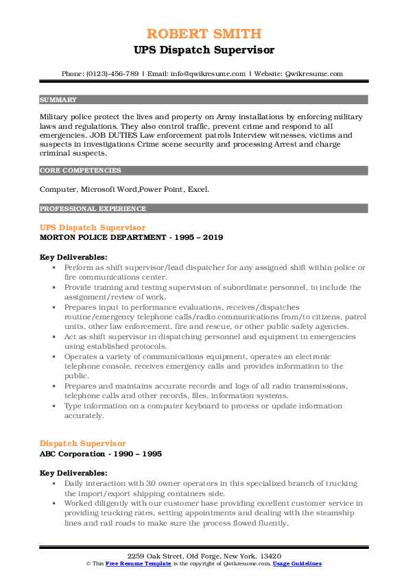 UPS Dispatch Supervisor Resume Format