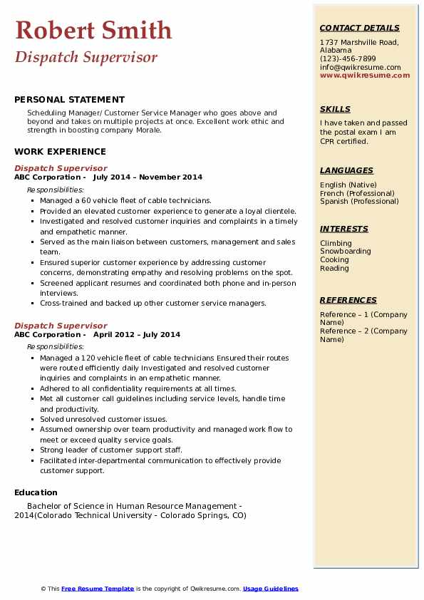 Dispatch Supervisor Resume Format