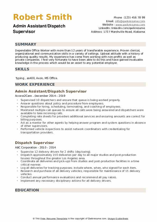 Admin Assistant/Dispatch Supervisor Resume Sample