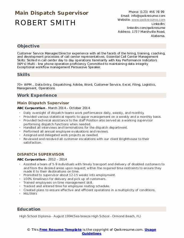 Main Dispatch Supervisor Resume Sample