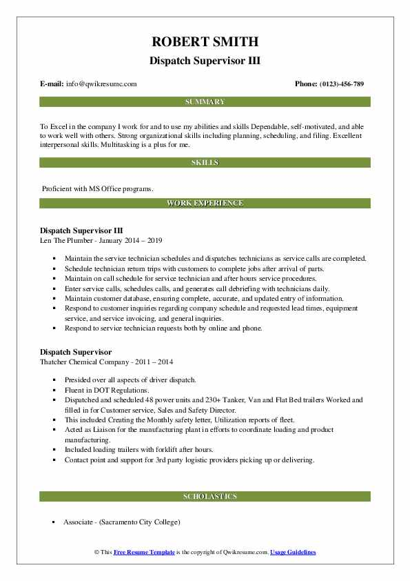 Dispatch Supervisor III Resume Sample