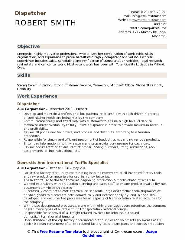 Dispatcher Resume Format