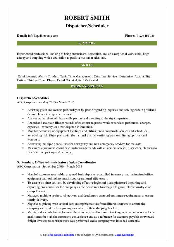 Dispatcher/Scheduler Resume Model