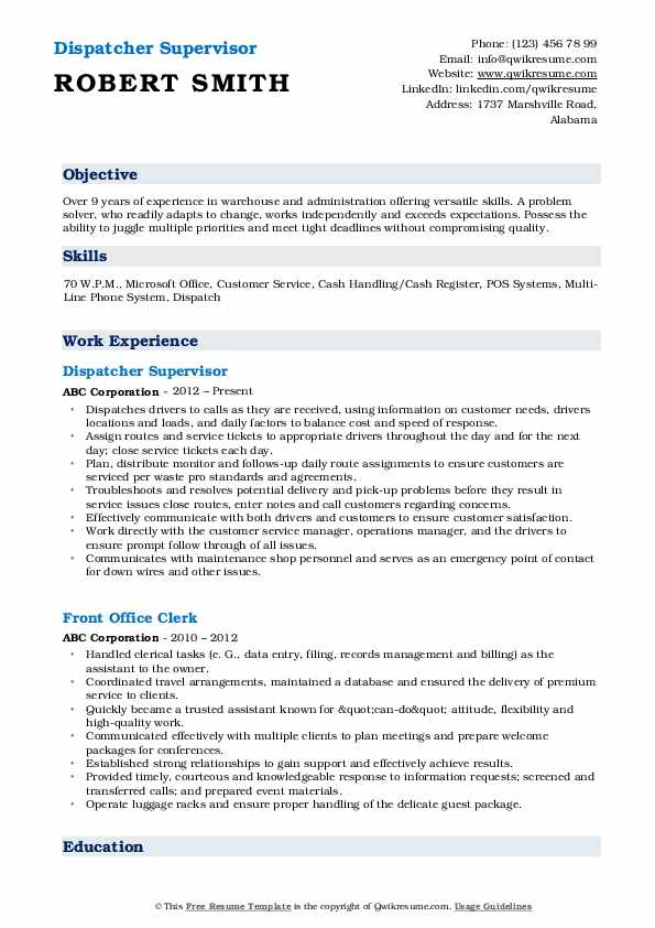 Dispatcher Supervisor Resume Sample