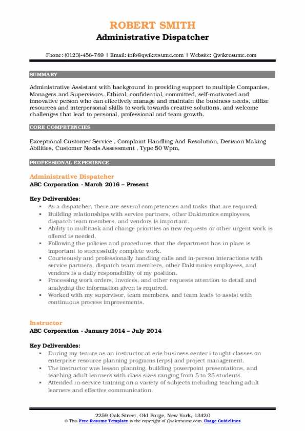 Administrative Dispatcher Resume Example