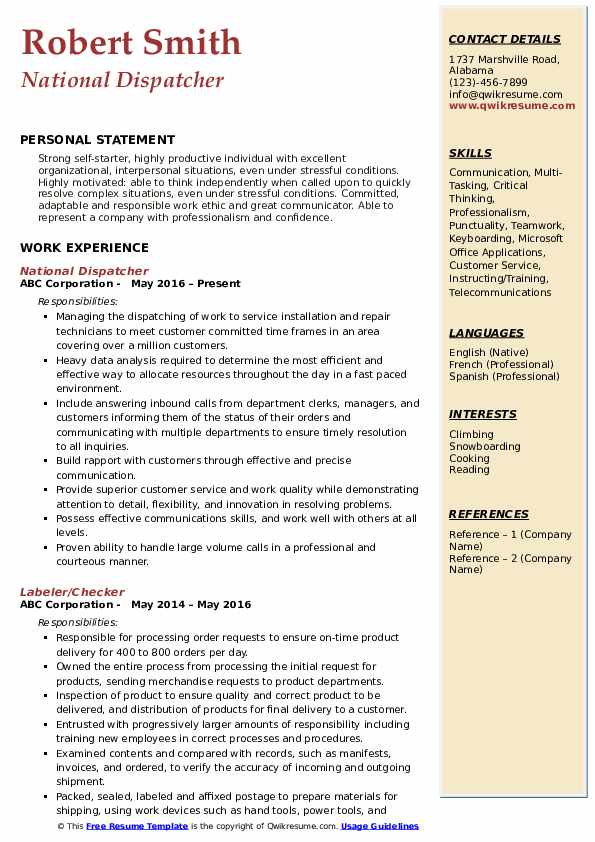 National Dispatcher Resume Template