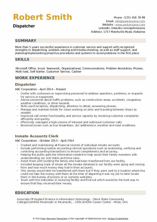 Dispatcher Resume example