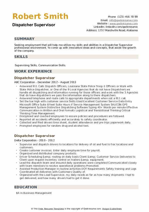 Dispatcher Supervisor Resume example